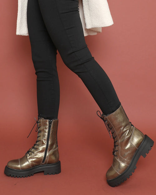 Esska gold yorky boots are available to buy online from Damsel in Chiswick