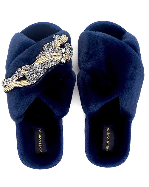Laines London navy faux fur slippers area available to buy online from Damsel in Chiswick