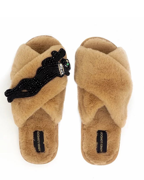 Laines London Slippers Caramel Panther