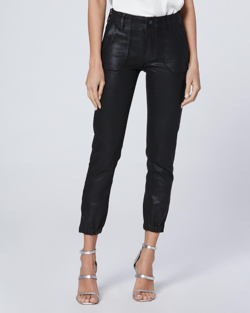 Paige mayslie joggers in coated black denim are available to buy online from Damsel in Chiswick