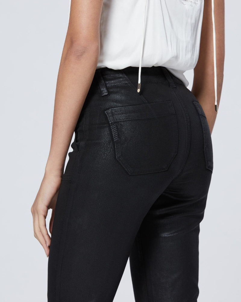 Paige denim mayslie joggers in black coated denim available to buy online from Damsel in Chiswick