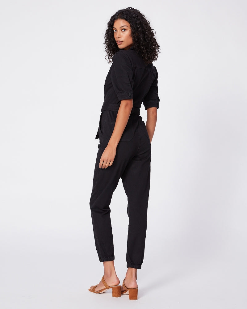 Paige black denim jumpsuit is available to buy online from Damsel in Chiswick