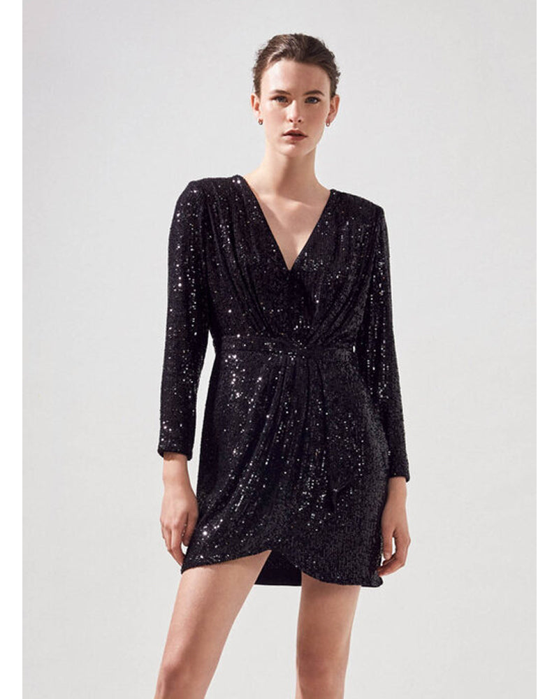 Suncoo black sequin carmela dress is available to buy online from damsel in Chiswick