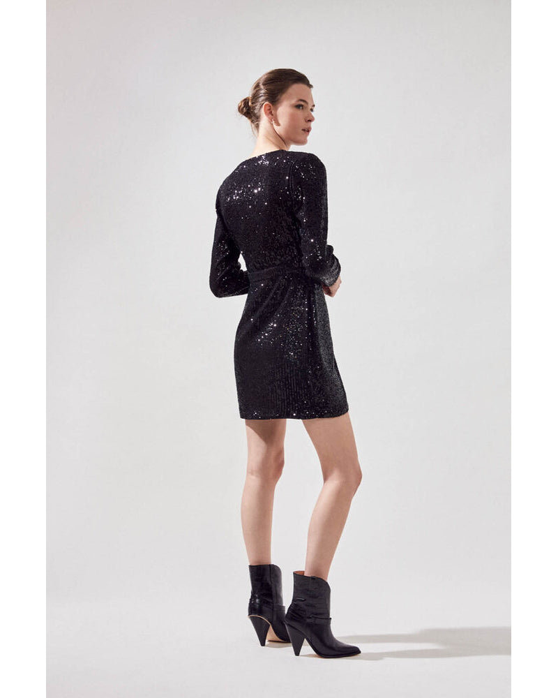 Suncoo wrap front sequin dress is available to buy online from Damsel in Chiswick