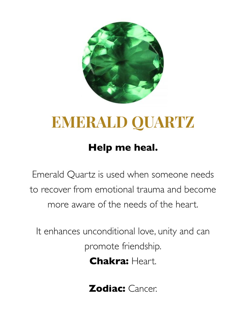 SVP emerald quartz meaning card from Damsel in Chiswick