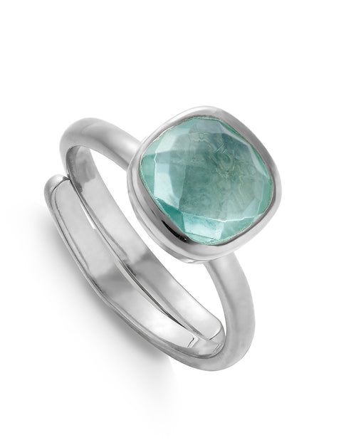SVP highway star ring in silver in green marine quartz is available to buy online from damsel in Chiswick