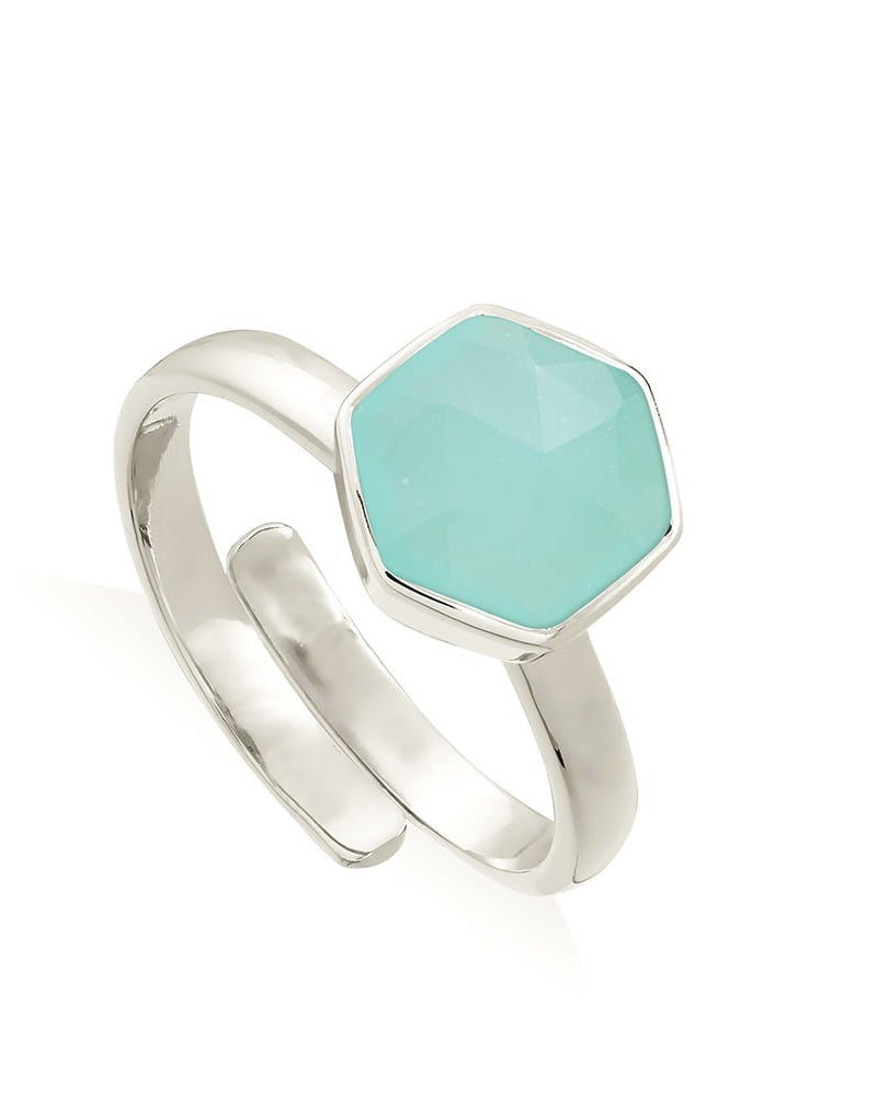 SVP hexagonal ring in sterling silver available to buy from Damsel in Chiswick