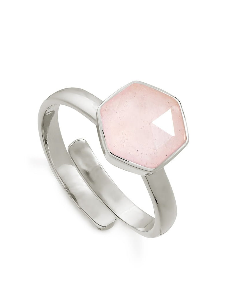 SVP rose quartz hexagonal ring is available to buy online from Damsel in Chiswick