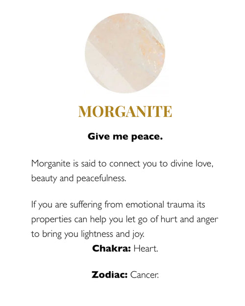SVP morganite meaning card from Damsel in Chiswick