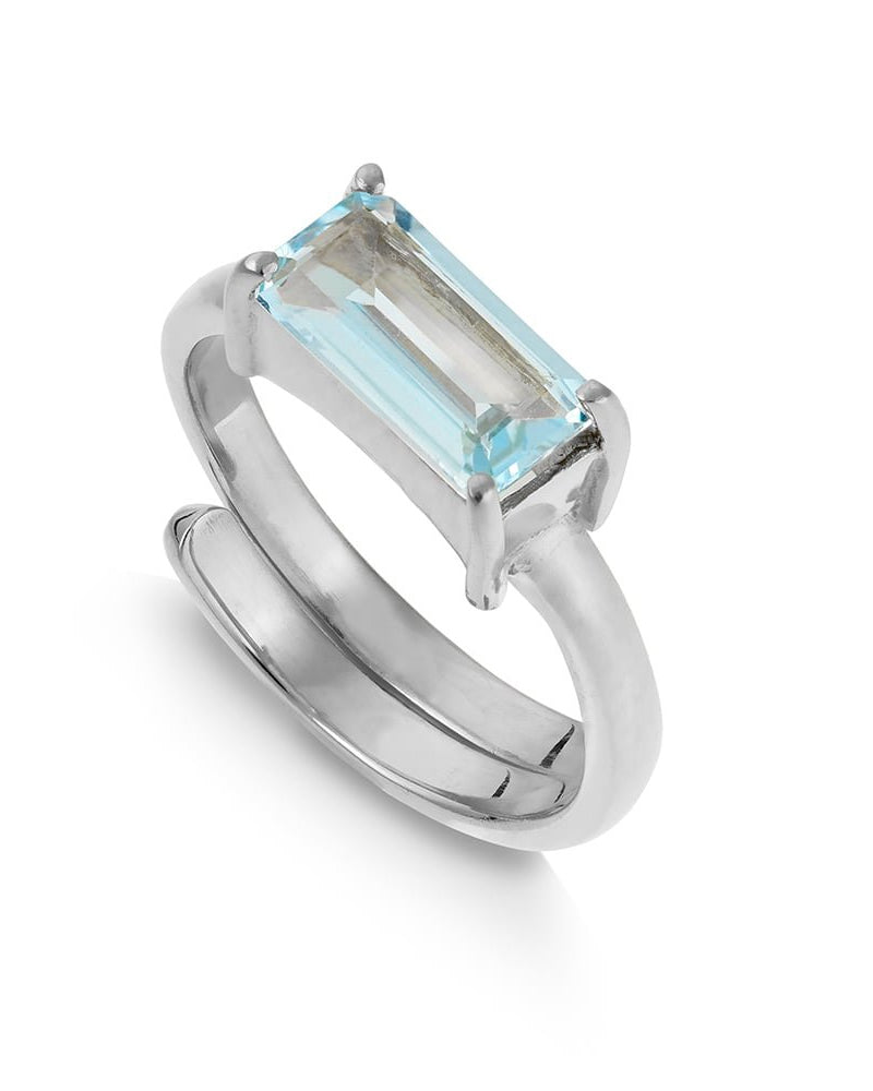 SVP blue topaz emerald cut ring available from Damsel in Chiswick
