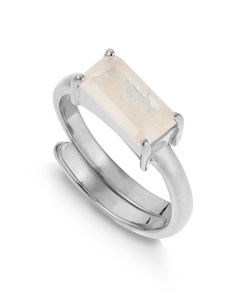SVP emerald cut morganite ring from Damsel in Chiswick