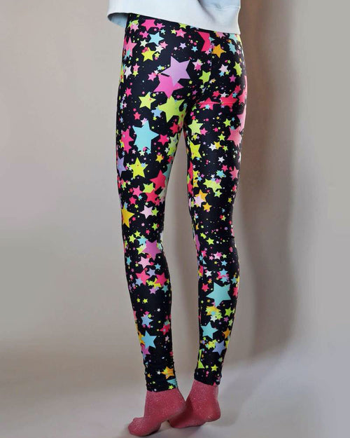 Universe of us leggings in rainbow star print are available to buy online from Damsel in Chiswick