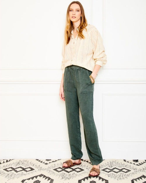 MKT Studio picsou khaki trousers are available to buy online from Damsel in Chiswick