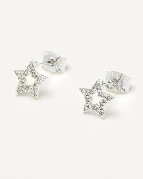 Estella Bartlett open star silver earrings are available to buy online from Damsel in Chiswick