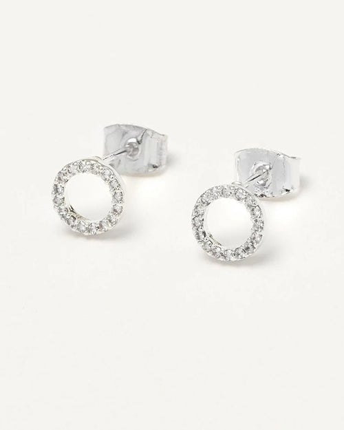 Estella Bartlett silver plated circle cz stud earrings are available to buy online from Damsel in Chiswick