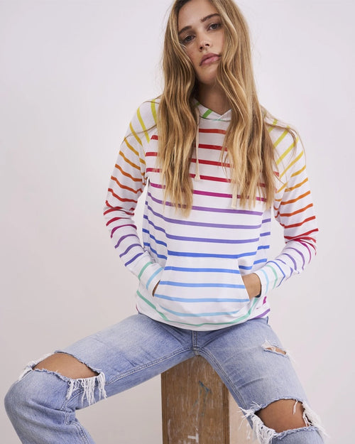 Stripe and Stare Hoodie - Rainbow Stripe