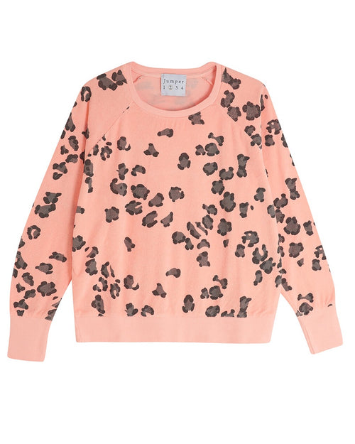 Jumper 1234 Leopard Terry Sweater - Orange
