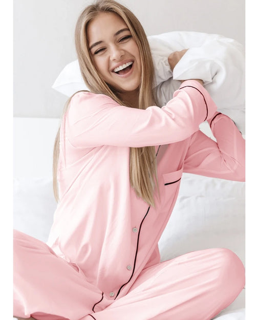 Breathe and Protect organic cotton pyjamas in pink are available to buy online from Damsel in Chiswick