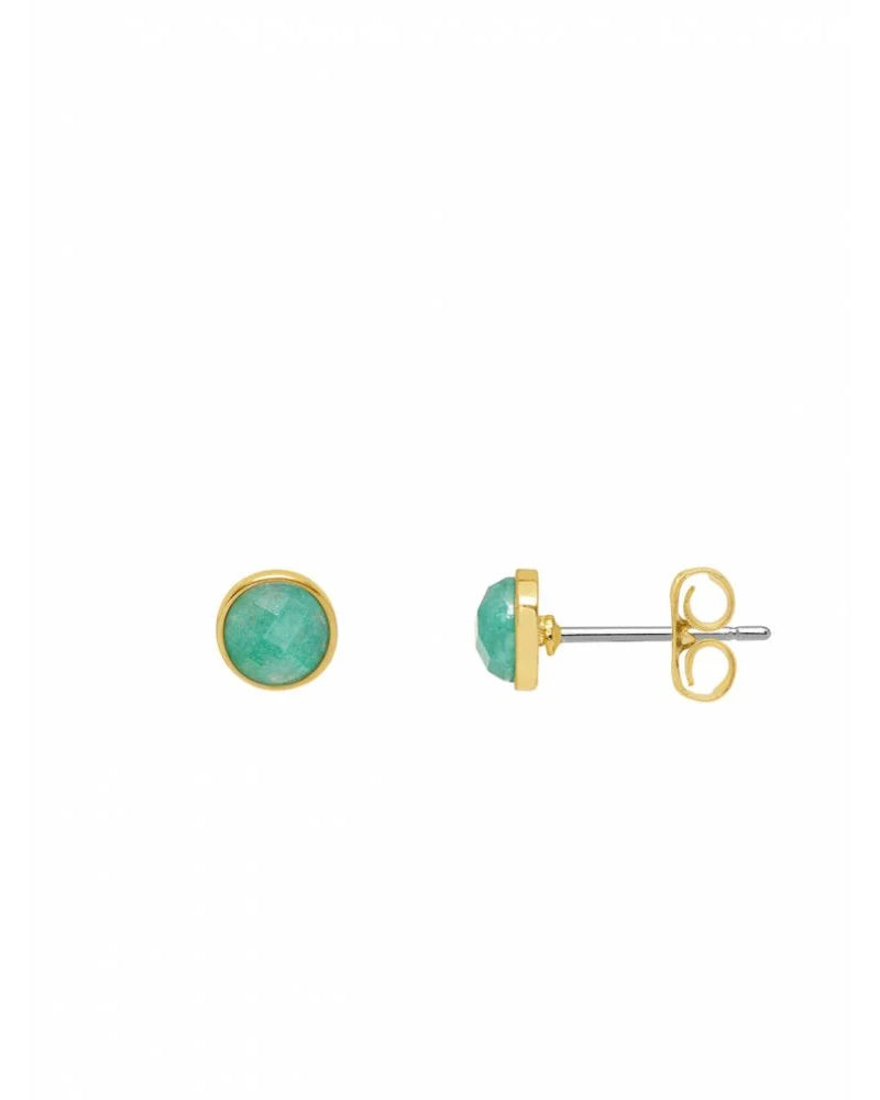 Estella Bartlett gold stud aqua chalcedony earrings are available to buy online from Damsel in Chiswick