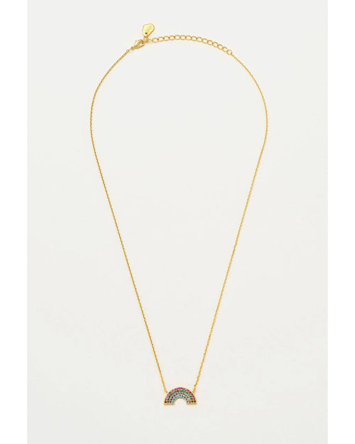 Estella Bartlett gold plated necklace with CZ rainbow is available to buy online from Damsel in Chiswick
