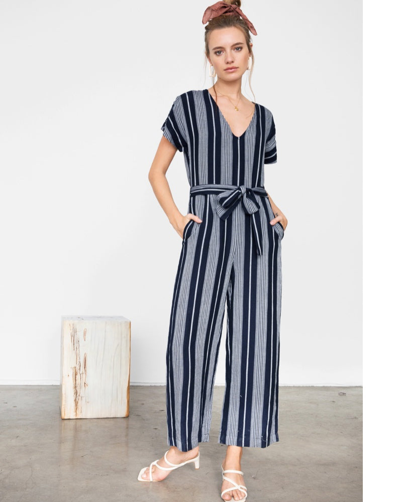 Stripe jumpsuit is available to buy online from Damsel in Chiswick