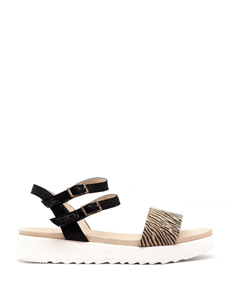 Esska nash sandals in black zebra are available to buy online from Damsel in Chiswick