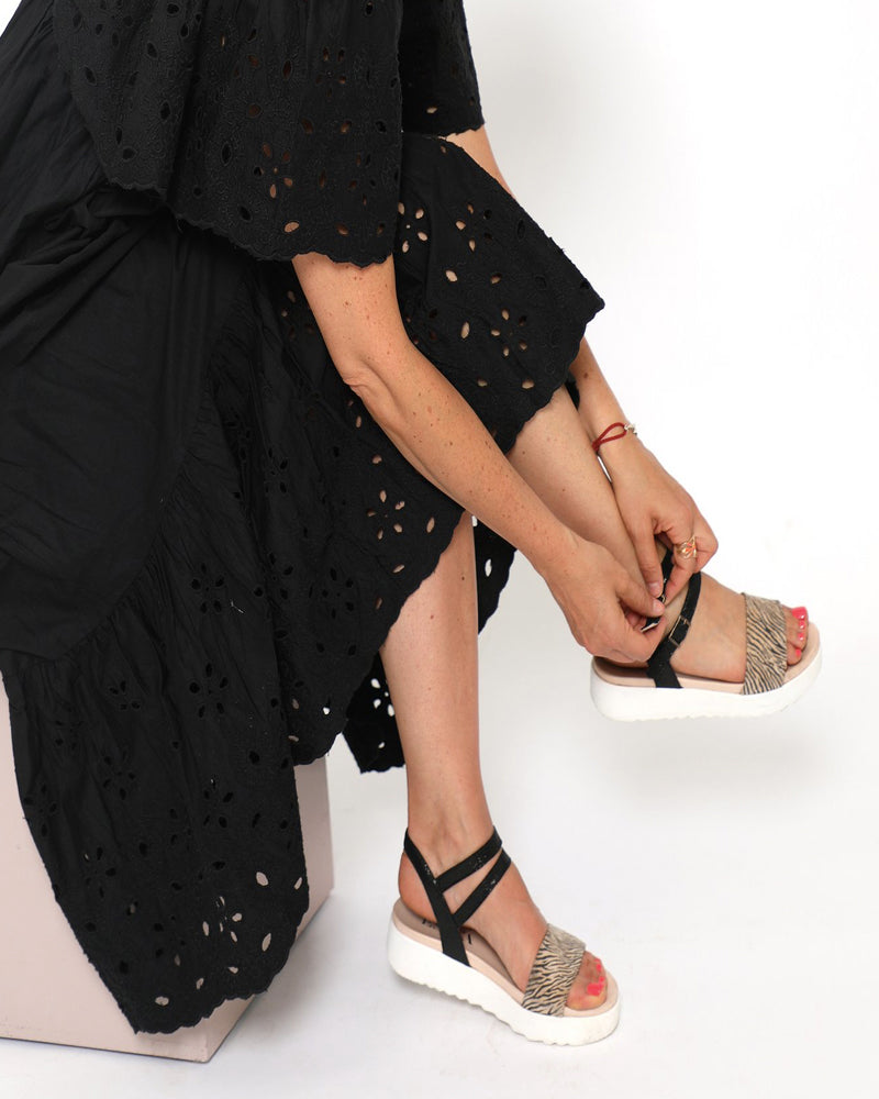 Esska black zebra nash sandals are available to buy online from Damsel in Chiswick