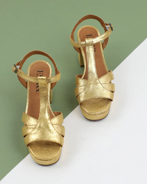 Esska mid heel gold charlie sandals are available to buy online from Damsel in Chiswick