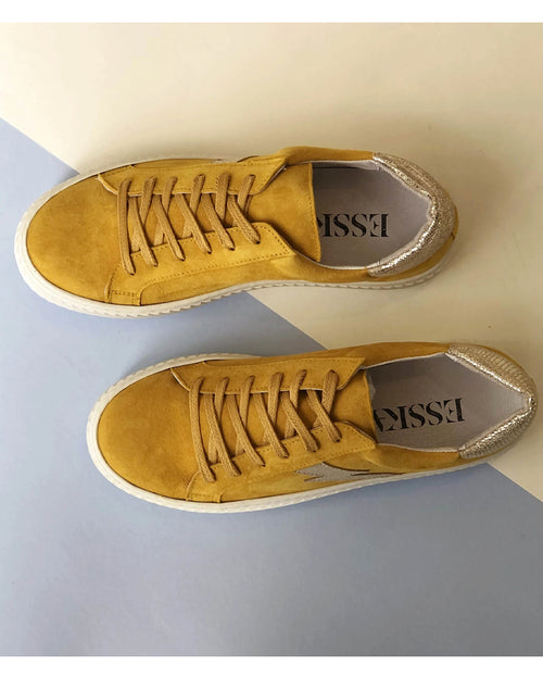 Esska nola trainers in yellow are available to buy online from Damsel in Chiswick