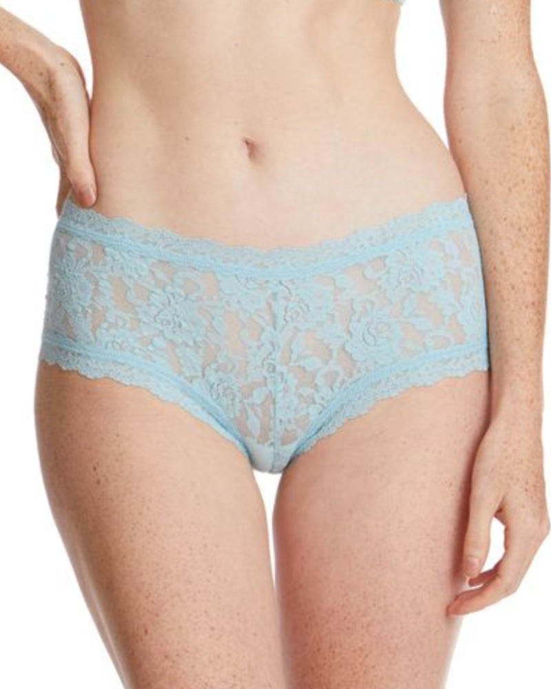 Hanky Panky rain cloud blue boyshorts are available to buy online from Damsel in Chiswick