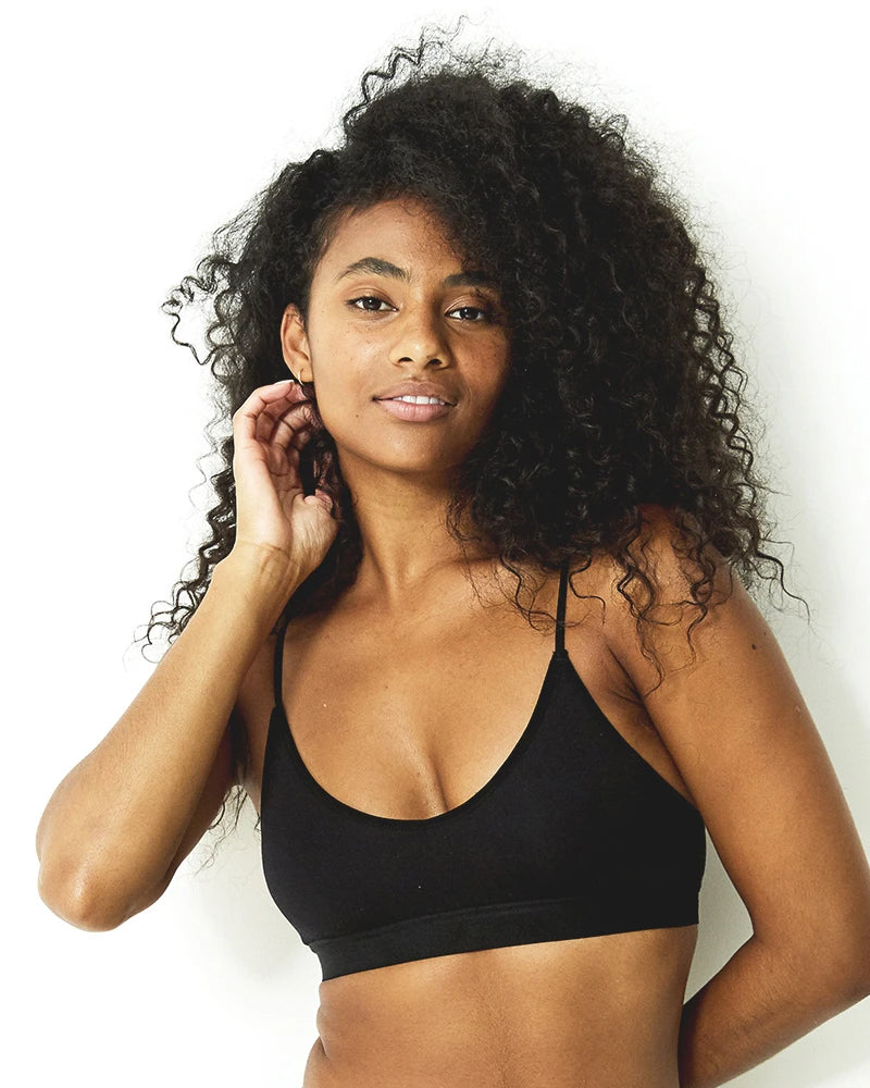 Stripe and stare bralette in black is available to buy online from Damsel in Chiswick
