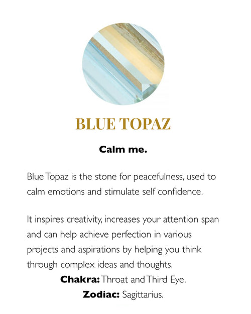 SVP blue topaz meaning card from Damsel in Chiswick