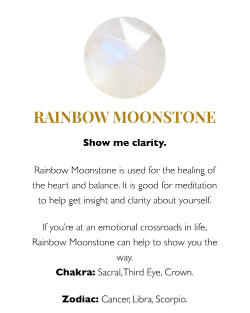 SVP charm ring with rainbow moonstone is available to buy online from Damsel in Chiswick