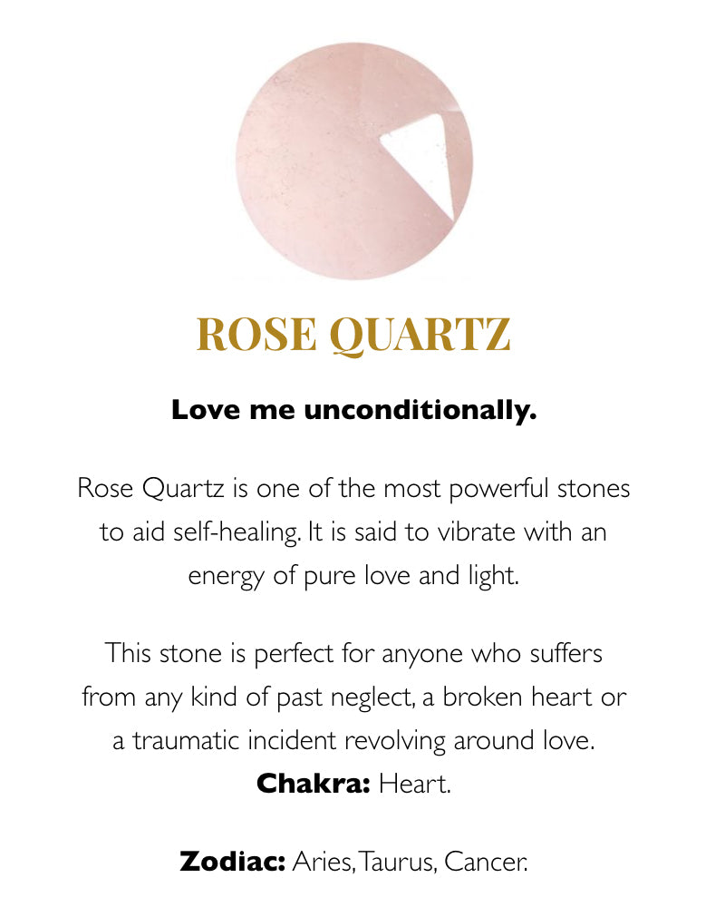 SVP rose quartz meaning card available from Damsel in Chiswick