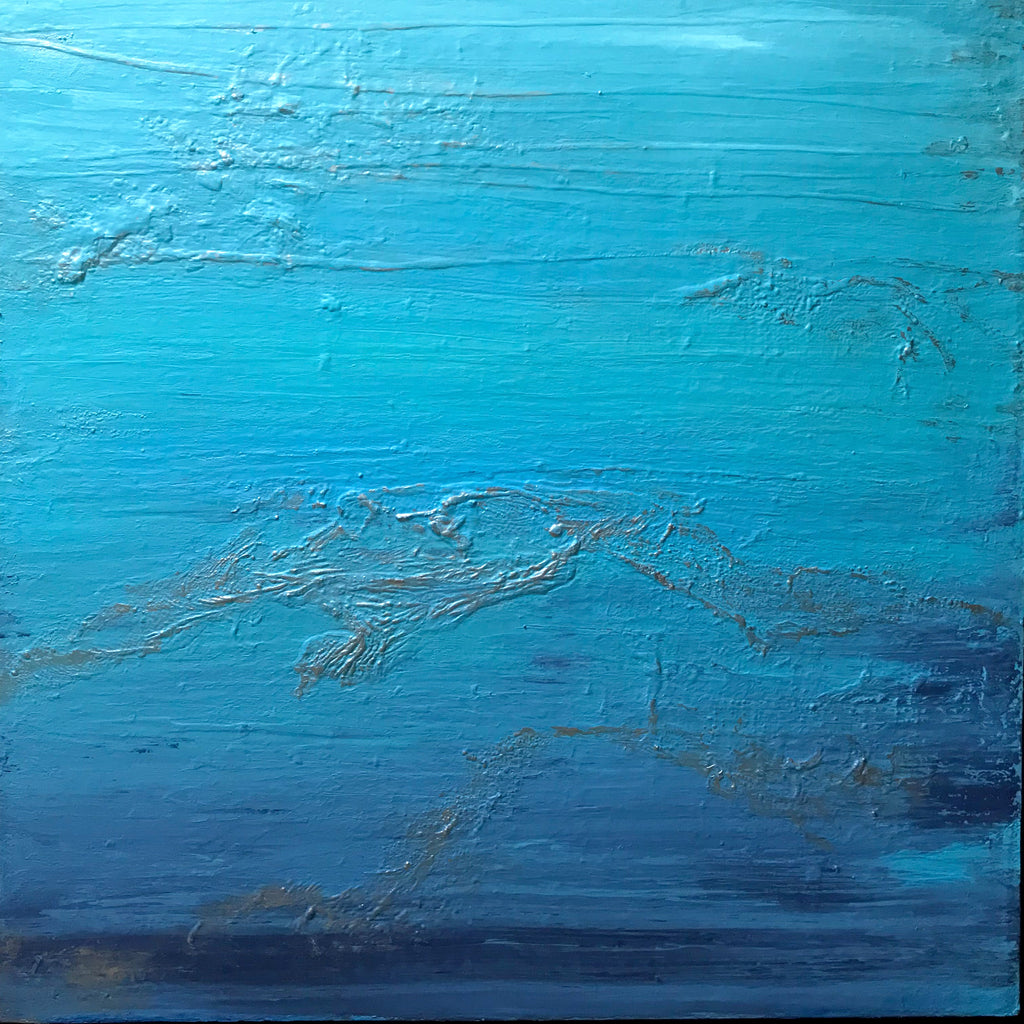 SILVER LINING - ORIGINAL LARGE 3' x 3' - PAUL SHAMPINE Contemporary Abstract Painter & Sculptor