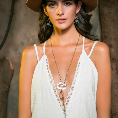 Boho Shell Necklace with Golden Tassel