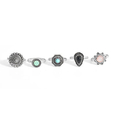 Floral Turkish Ring Set (5pcs)