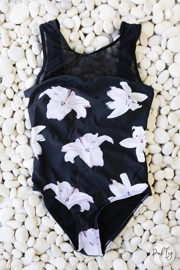 White & Black Floral One Piece