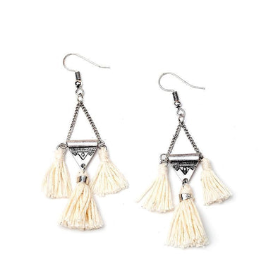 Ethnic Beige Tassel Earrings