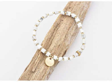 Gold and White Stone Bracelet