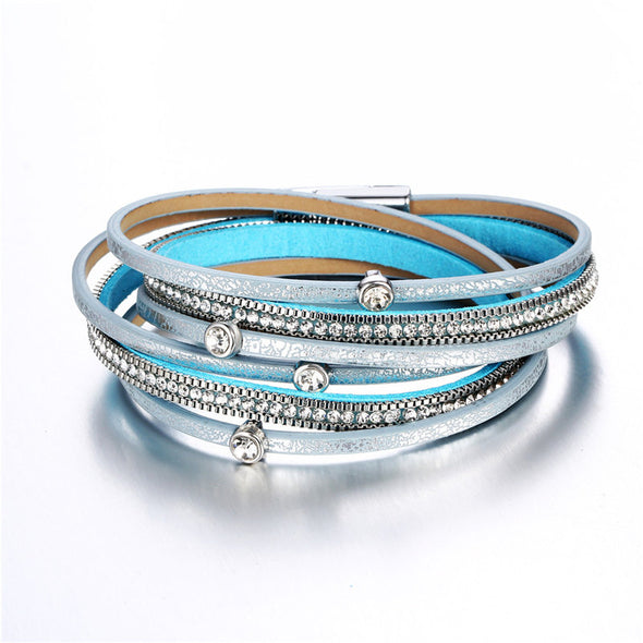 Bohemian Multiple Layer Leather Bracelet in Silver and Aqua