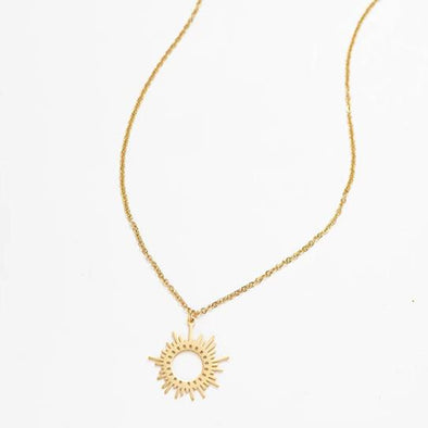 Gold Stainless Steel Irregular Sun Pendant Necklace