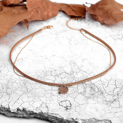 Punk Double Layered Suede Necklace