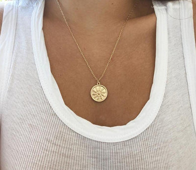 Gold Sun Pendant Necklace
