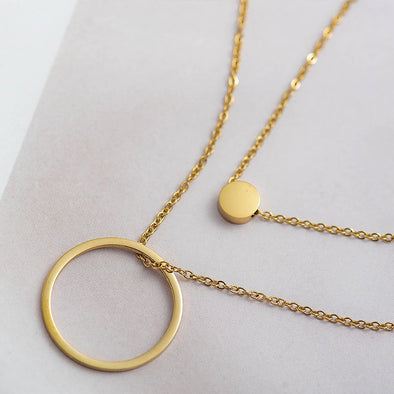 2 Layered Circle Pendant Necklace