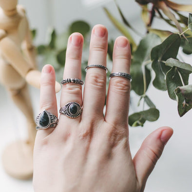 Bohemian Marble Stone Ring Set (6pcs)