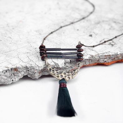 Half Moon with Tassel Necklace