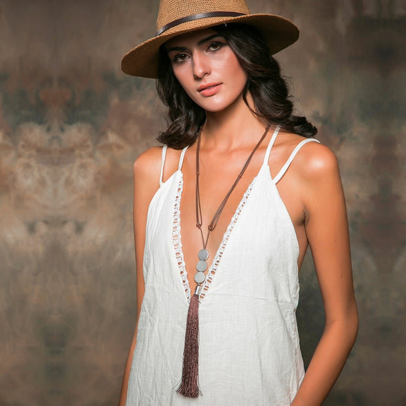 Long Brown Tassel Necklace