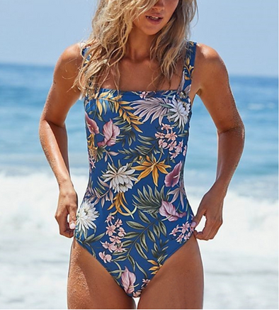 Blue Abstract Floral One Piece