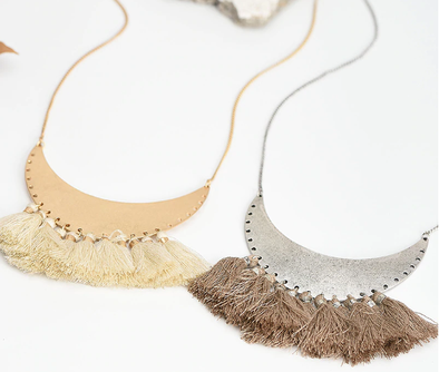 Bohemian Beige Brown Thread Tassel Necklace
